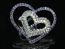 crystal silver clip scarf brooch D24 double love heart lavender purple Austrian