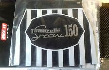 Lambretta 150 special in Silver on a Black White Stripped cuppini Mudflap.