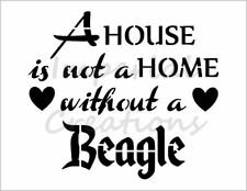 """""""BEAGLE HOME"""" House Dog Breed Family 8.5"""" x 11"""" Stencil Plastic Sheet NEW S276"""