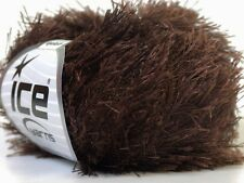 Dark Chocolate Eyelash Yarn Ice Solid Dark Brown Fun Fur 22754 50gram