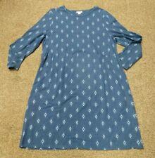 WOMENS XL J. JILL DRESS long sleeve blues FALL OFFICE WEAR COTTON STRETCH