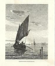 Stampa antica VENEZIA Barca da pesca in laguna 1880 Old Print VENICE Engraving