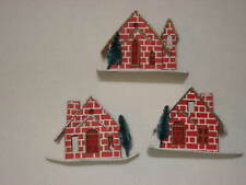 Vintage Cardboard Paperboard House Christmas Ornament Lot of 3 Red Brick Japan