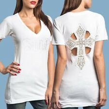 NWT AFFLICTION Sinful White BLING T-Shirt Top CATHEDRAL Lace Womens Small S/S