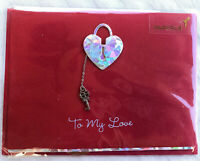 Papyrus Valentines Day 3D Greeting Card w/ Key to My Heart Lock - New & Sealed