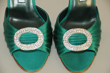 $785 New MANOLO BLAHNIK SEDARABY 105 Emerald Green Satin Silver Jeweled  SHOES