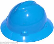 MSA BLUE Full Brim V-Gard (SLOTTED)Safety Hard Hat Ratchet Suspension FAST Ship!