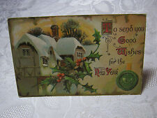 GOOD WISHES FOR THE NEW YEAR  ANTIQUE EMBOSSED POSTCARD   T*