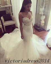 Simple Spaghetti Vintage Bridal Wedding Dress Romantic Sweetheart Gowns Mermaid