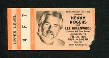 1986 Kenny Rogers Lee Greenwood Concert Ticket Stub Johnson City TN