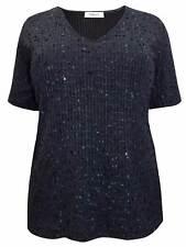 Karida Black Sequin Blouse Top Plus Size 16 18 20 22 Embellished Sparkle V Neck 20