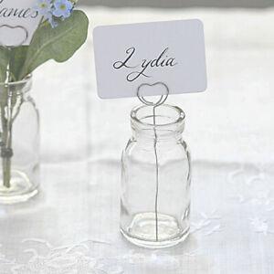 X1 Wedding Flower Vase With Metal Heart Name Card Holder & Mini Glass Bottle UK