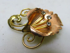 Vintage VAN DELL 1/20 12KT Gold Tone Glass Rhinestone Flower Pin Brooch 39