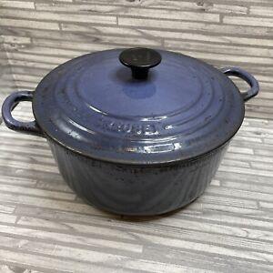 Le Creuset Tradition Collection Cast Iron Round Casserole Pot & Lid 22 cm Blue