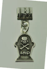 Halloween Skull crossbone Skeleton Real Sterling Silver RIP Bead charm tombstone