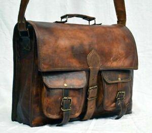 ''Men's Genuine Vintage Leather Messenger Laptop Briefcase Satchel Brown Bag''
