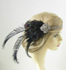 Negro Y Plata Pluma De Pavo Real Diadema 1920s El Gran Gatsby Mujer Flapper