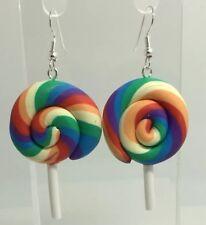 Earrings Fimo Kitsch Silver H039 Large Rainbow Swirl Lollipop Lolly Pendant