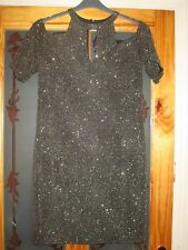 next black gold cold shoulder short sleeve dress size 18 eu 46 brand new & tags