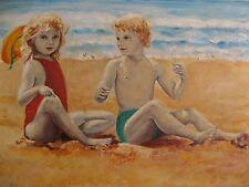 2088* huile sur panneau enfants sur la plage signé ?