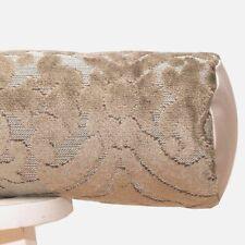 SALE Beige velvet bolster pillow cover Luxury Taupe Ivory Damask Throw Cushion