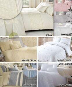 bordado o Cordones Colcha Funda De Endredón Juego cama moderno nata azul NUEVO