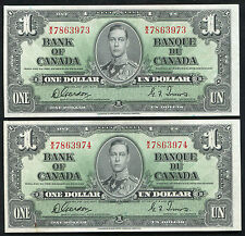 (2) CONSECUTIVE BC-21c 1937 $1 BANK OF CANADA BANKNOTES GEM UNCIRCULATED