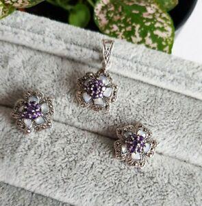 925 silver flower earrings pendant set. Marcasite, mother of pearl, amethyst