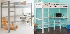 WestWood High Sleeper Cabin Wooden Frame Bunk Bed With Desk Kids Single 3FT New