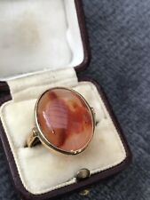 Antique 9ct Yellow Gold Carnelian Large Signet Ring.