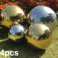 Mirror Garden Spheres Set of 4 Silver  Stainless Steel Gazing Balls 20 10 15CM