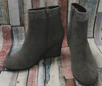 Ladies CLARKS Grey Croc Print Zip Up Wedge Suede Leather BOOT Size UK 4 - BC1