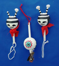 set of 3  American Dance Rattle ornaments Hopi Kachina Doll 4""