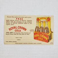 Vintage 1940s Original Royal Crown Cola Soda Free Promotional Coupon Postcard