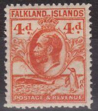 c243) Falkland Islands 1929/37. MM. SG 120 4d Orange. Penguins. c£23+