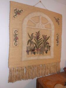Vintage Macrame Wall Hanging Flowers in Window Woven Wall Tapestry BOHO Hippie