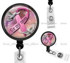 Pink Ribbon Support Clip On Id Badge Reel Retractable Identification Card Holder