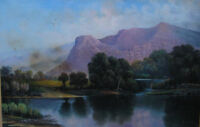 Purple Mountains Lake Landscape Oil Painting T DeRayne Listed Artist Signed Art