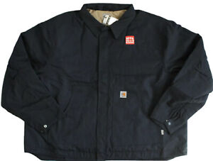 Carhartt Mens 4XL Flame Resistant FR Dearborn Canvas Jacket Quilt Lined Navy