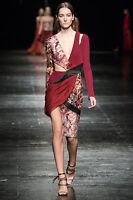 PRABAL GURUNG $2,895 asymmetric cut-out side brocade deep v-neck dress 4 NEW