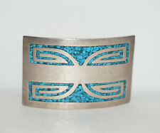 Design W/ Inlaid Turquoise Tg129 Mexican Sterling Curved Belt Buckle Silver