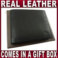 Black REAL LEATHER WALLET in a gift box good quality 9 card slots Gent's Men's