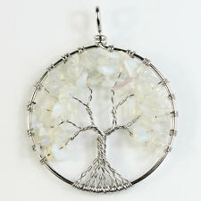 White Opal Opalite Chip Beads Tree of Life Silver Round Pendant Fit Necklace DIY