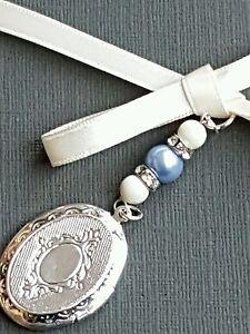 Wedding Bouquet Charm Oval Silver Locket Pendant Swarovski matt ivory pearls