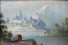 Ancienne gouache miniature représentant un paysage de montagne Italie / Suisse