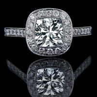 1.50 CARAT CUSHION SOLITAIRE DIAMOND ENGAGEMENT RING IN 18K WHITE GOLD