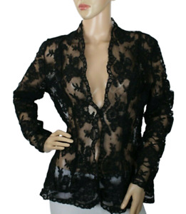 Claudio Milano Women's Black Lace Jacket Sheer Size M