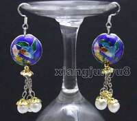 Big 18mm Blue Round Cloisonne & 6-7mm White Natural Pearl Dangle earring-ear525