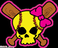 """Softball Fastpitch Skull over crossed bats 3"""" decal"""