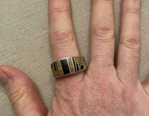Men's Sterling Silver Ring Inlaid Brown and Black Stones MCM size12.5-13